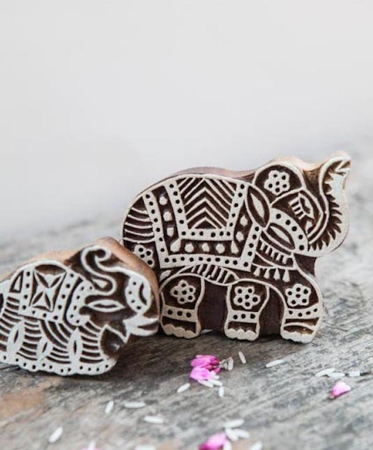 stamp wood houten stempel olifant elephant india