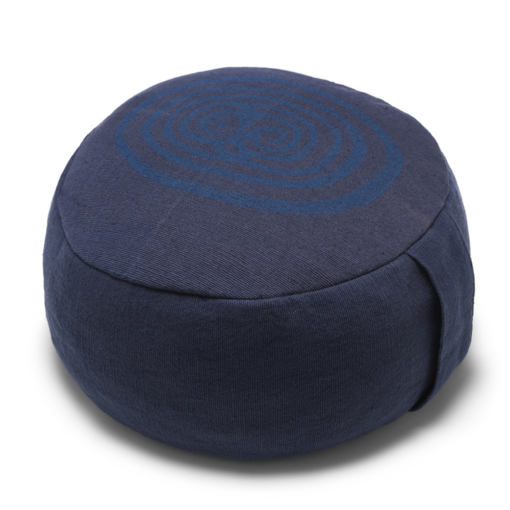 yoga poef pillow meditatie meditation blauw blue blockprint