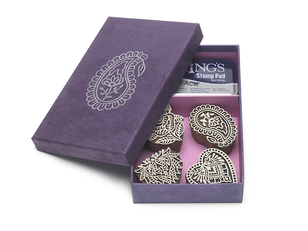 gift set paisley 4 wooden stamps box