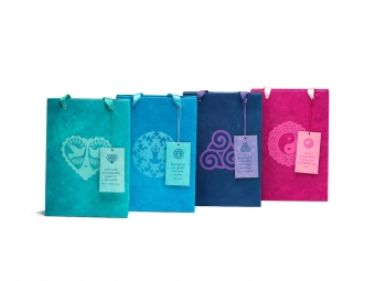 geschenktasje met label gift bag with tag red blue green purple