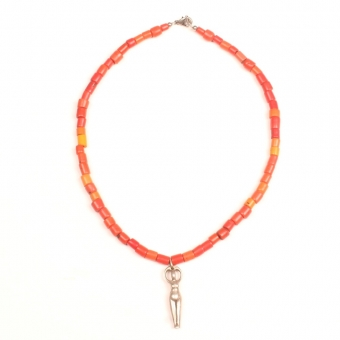 Collier Necklace orange naga glass beads glaskralen mother earth moeder aarde