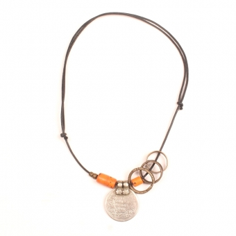 Collier Necklace banjara coin bondo bronze bronzen ring naga glass beads glaskralen oranje orange