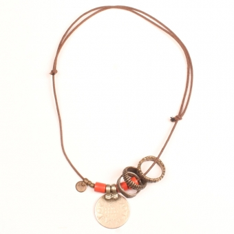 Collier Necklace banjara coin bondo bronze bronzen ring naga glass beads glaskralen terra